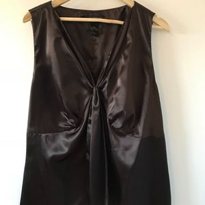 Satin Blouse in Chocolate Brown Plus Size